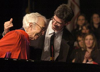 honorary doctor of letters degree at York University in 2004 with son Matt